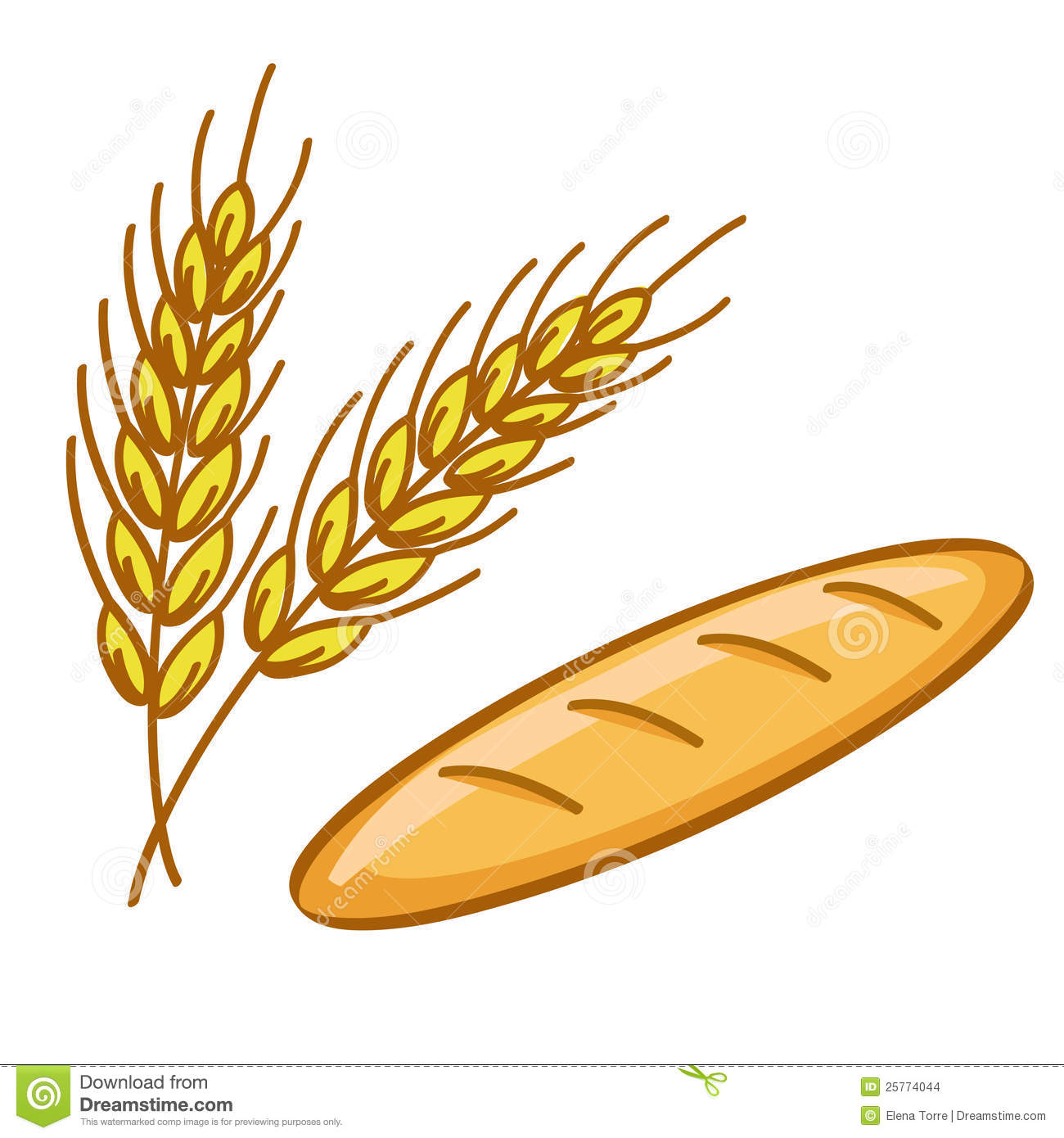 Illustration of bread and wheat corn isolated on white background ...
