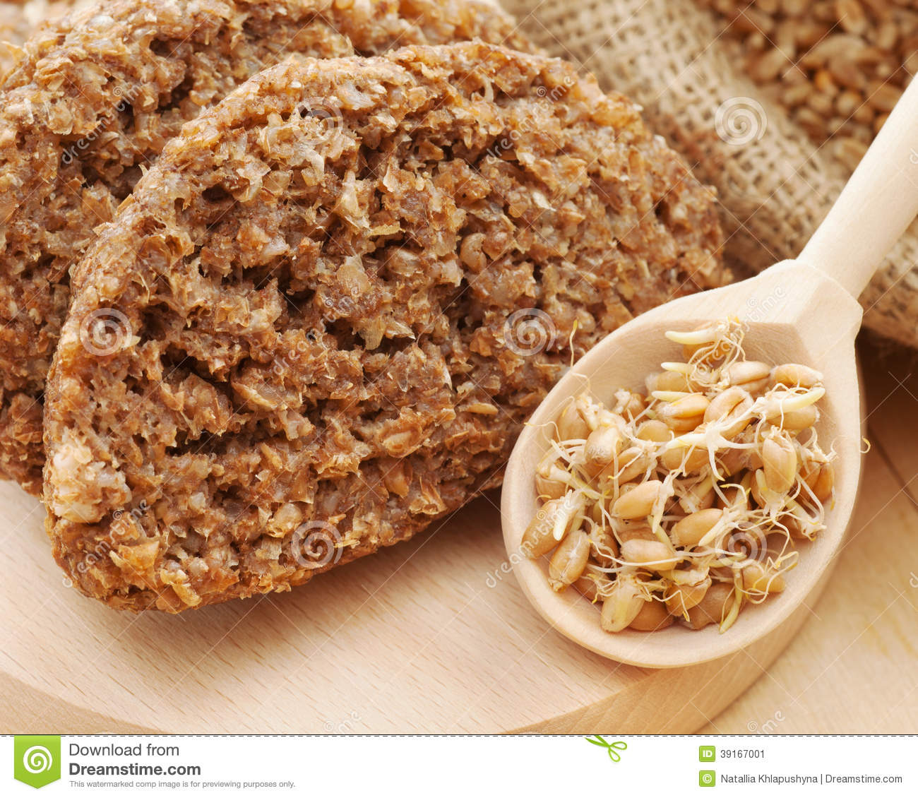 Bread from wheat sprouts and sprouted seeds