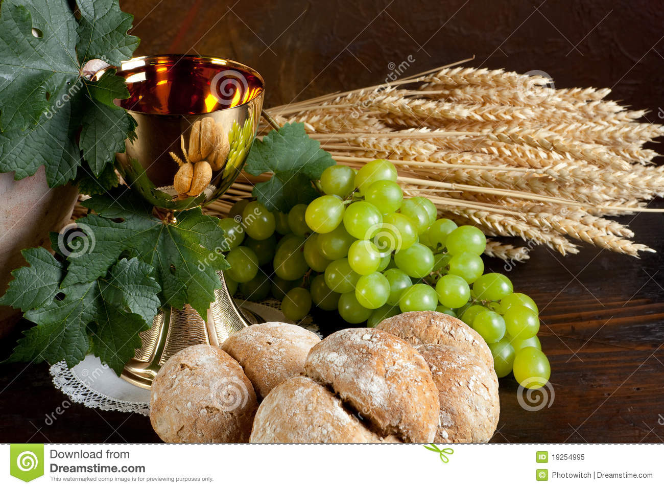 Bread And Wine For Communion Stock Image Image Of
