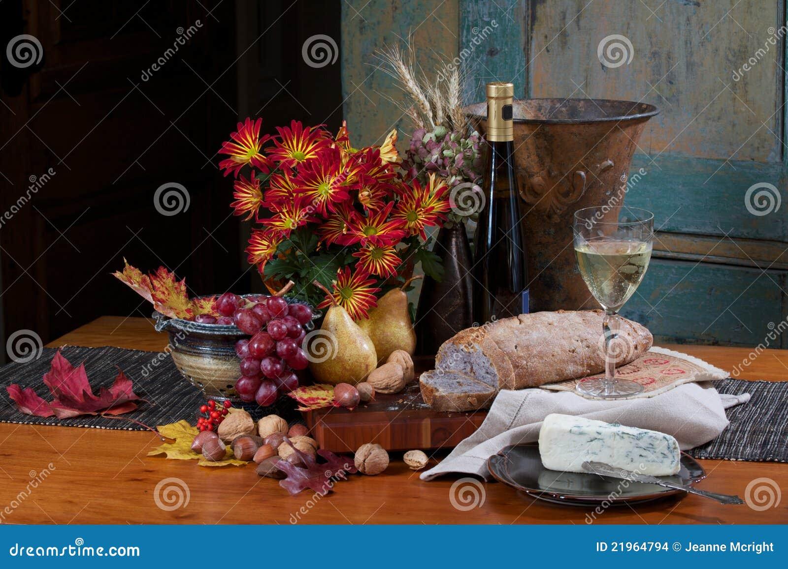 Bread Wine Fruit Cheese Still Life Stock Photo Image