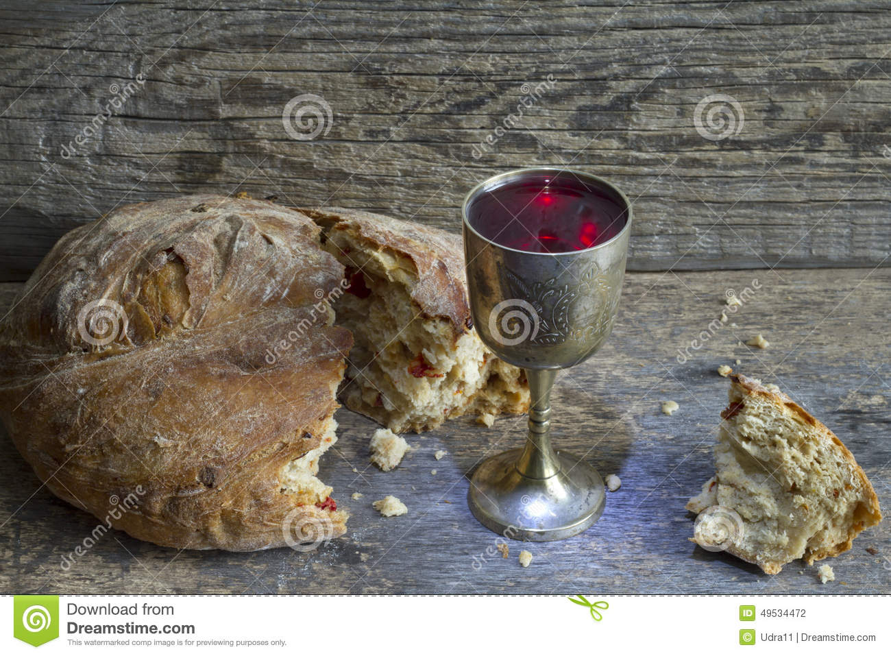 Bread And Wine Holy Communion Sign Symbol Stock Photo
