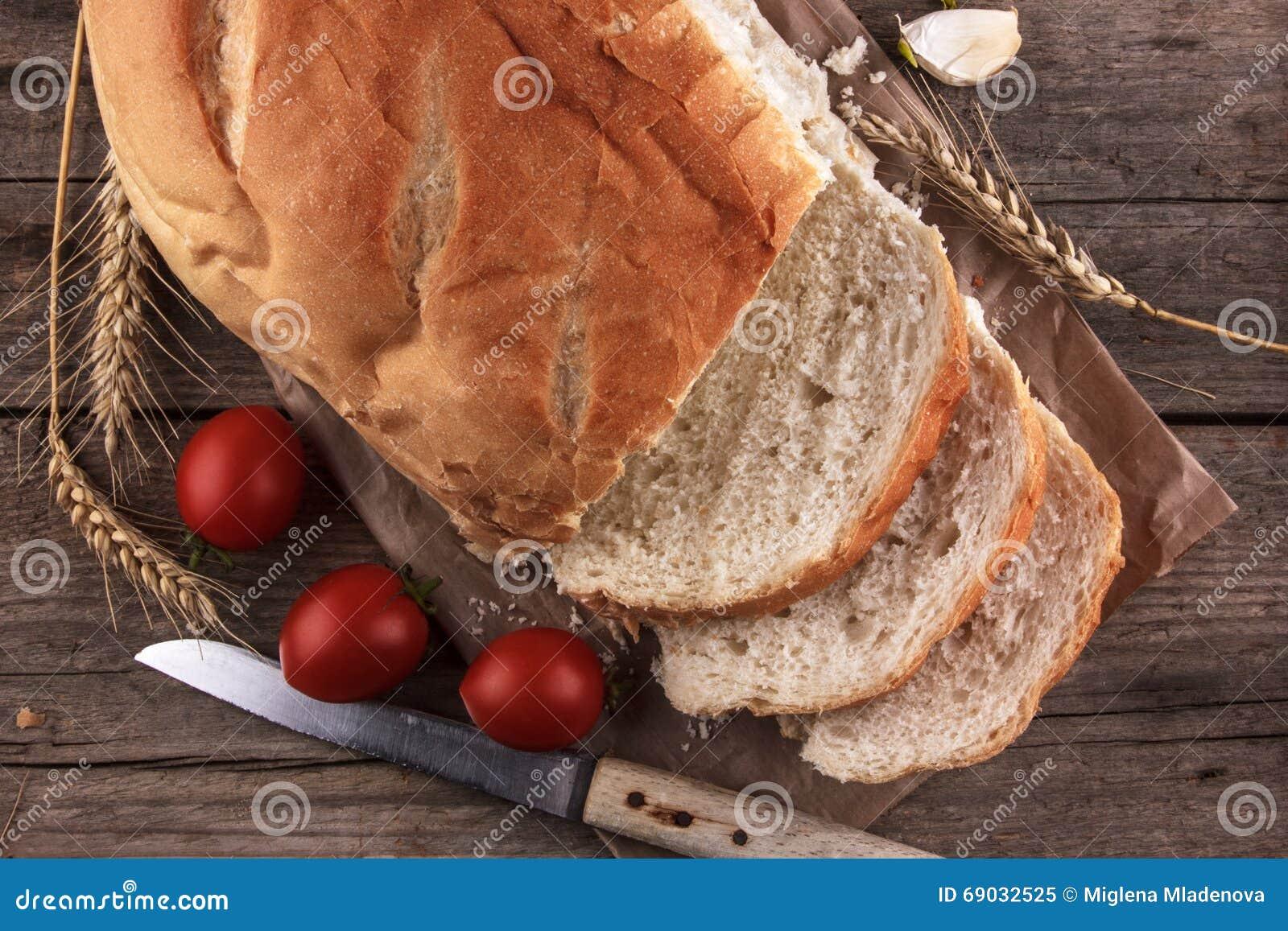 Bread on a wooden board