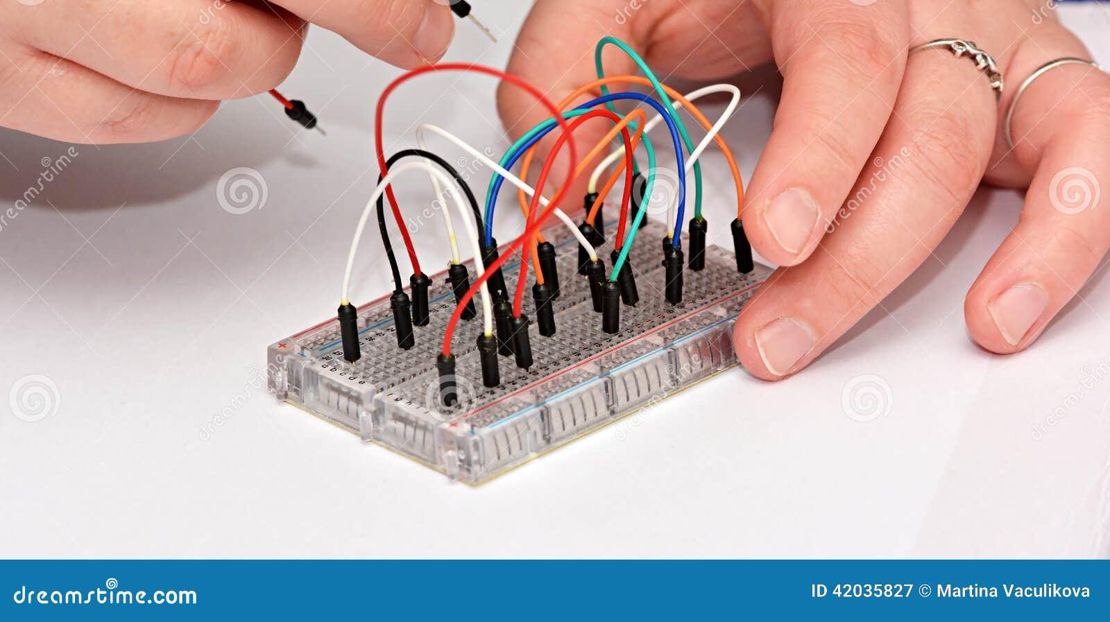Testing Electrical Circuit On Breadboard Stock Photo