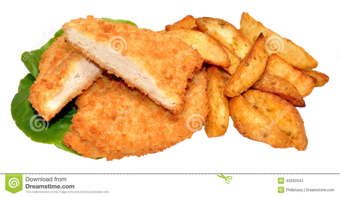 Breaded Chicken Breast Fillets And Potato Wedges Stock ...