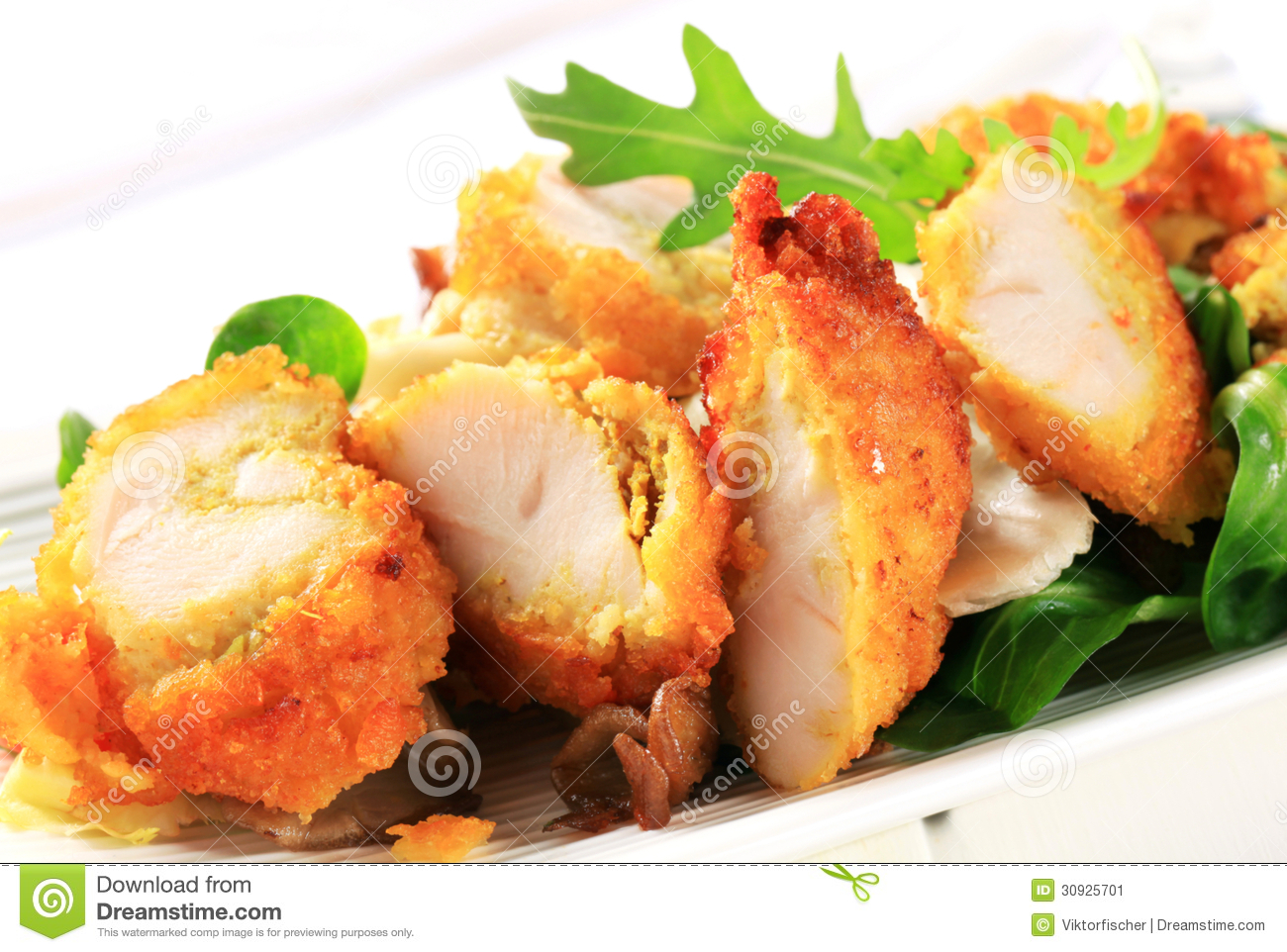 Breaded chicken breast with salad greens