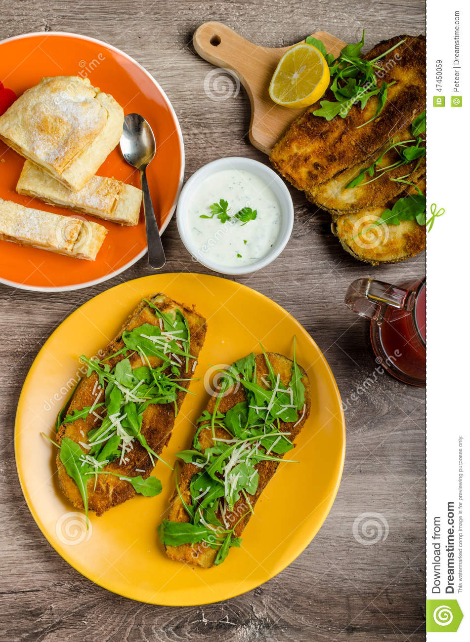 Breaded Eggplant With Arugula And Parmesan Recipes — Dishmaps