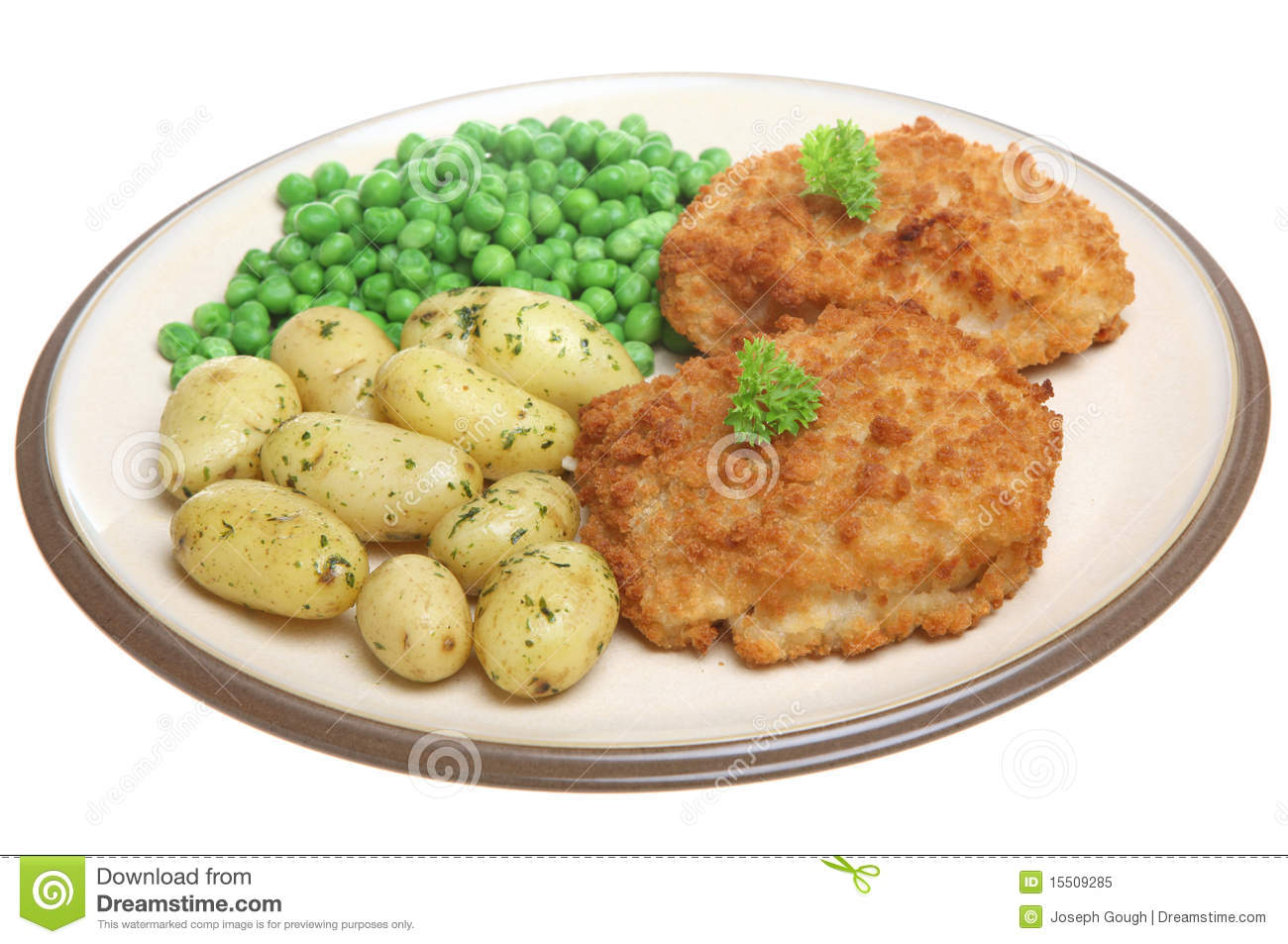 Breaded fish fillets with new potatoes stock image image for Breaded fish recipe