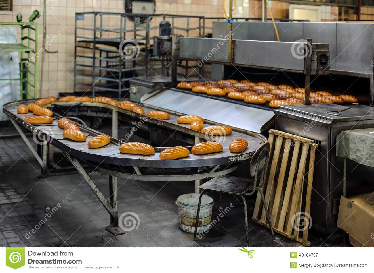 Breads on production line at bakery