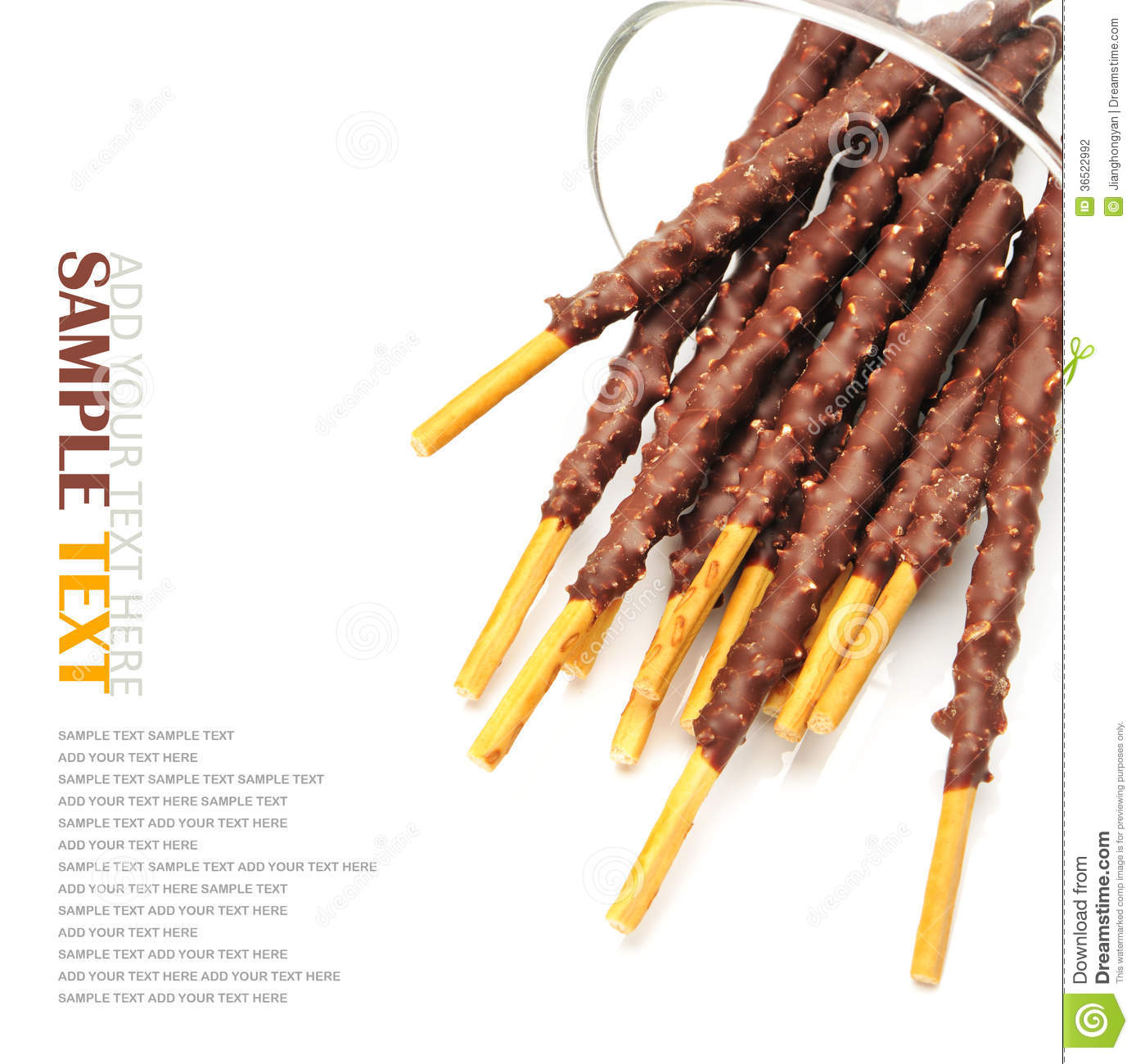 Breadsticks Covered With Chocolate Stock Photography