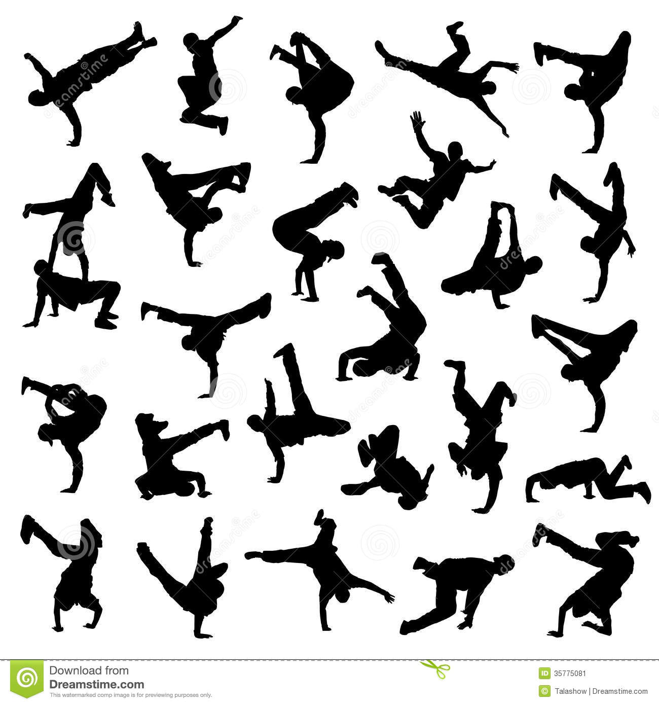 Break Dance Silhouettes Stock Image   Image  35775081