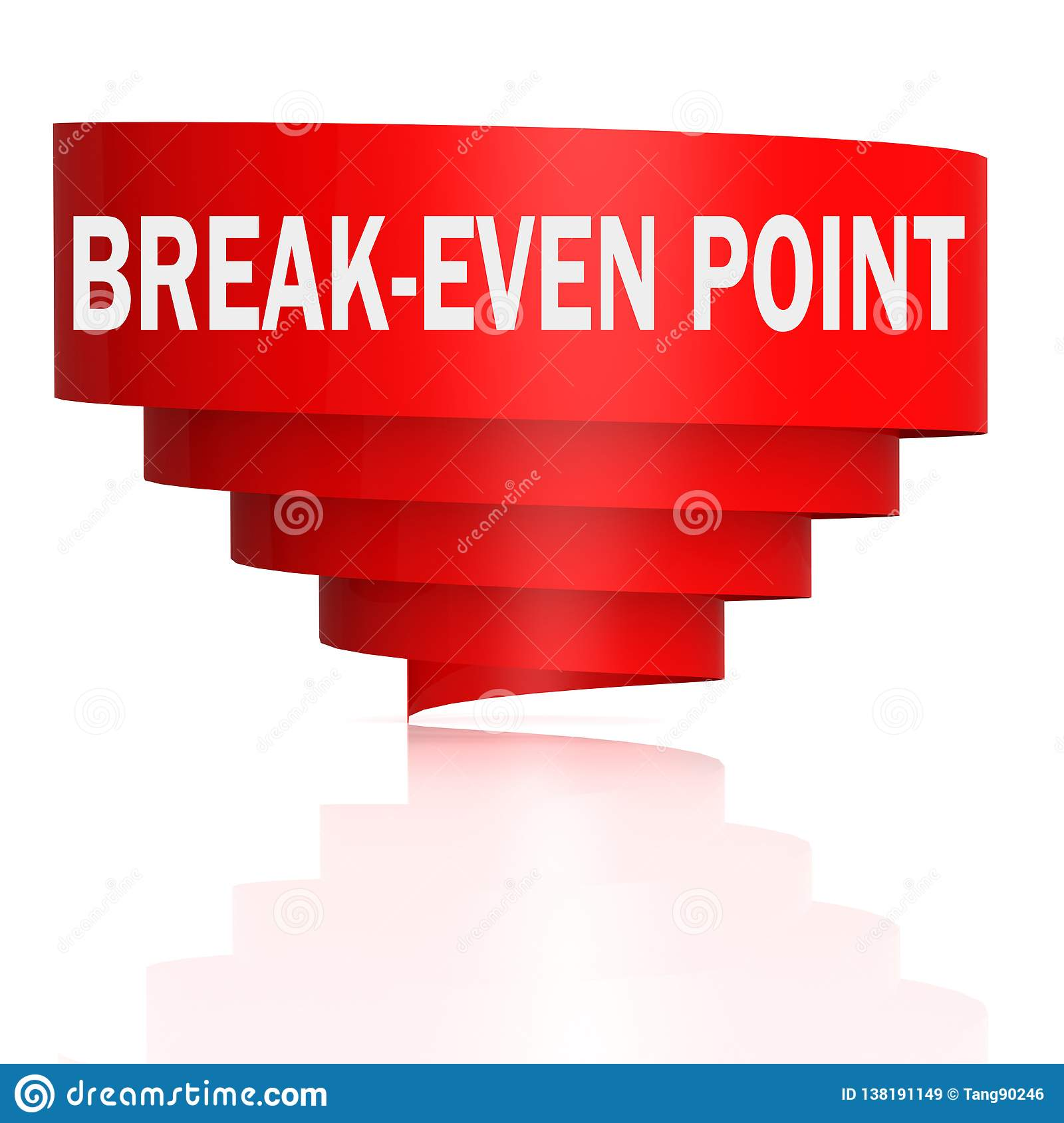 Break-even point word with curve banner