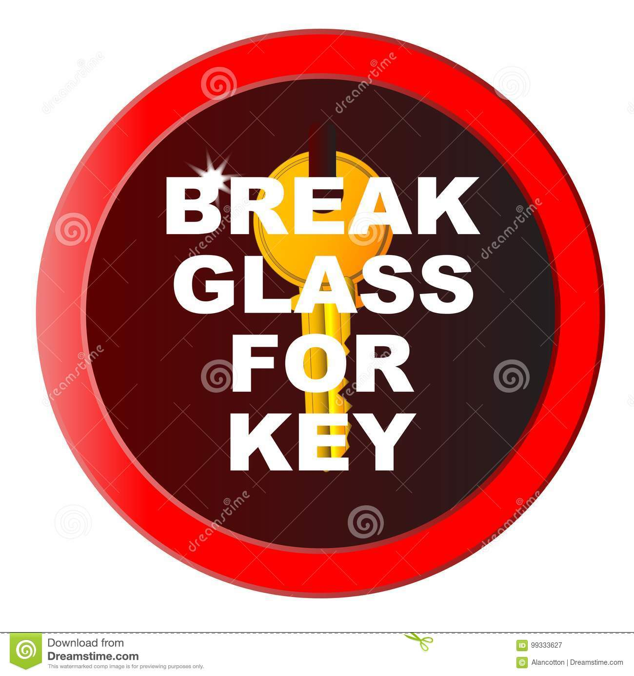 Break Glass For Key stock vector  Illustration of escape