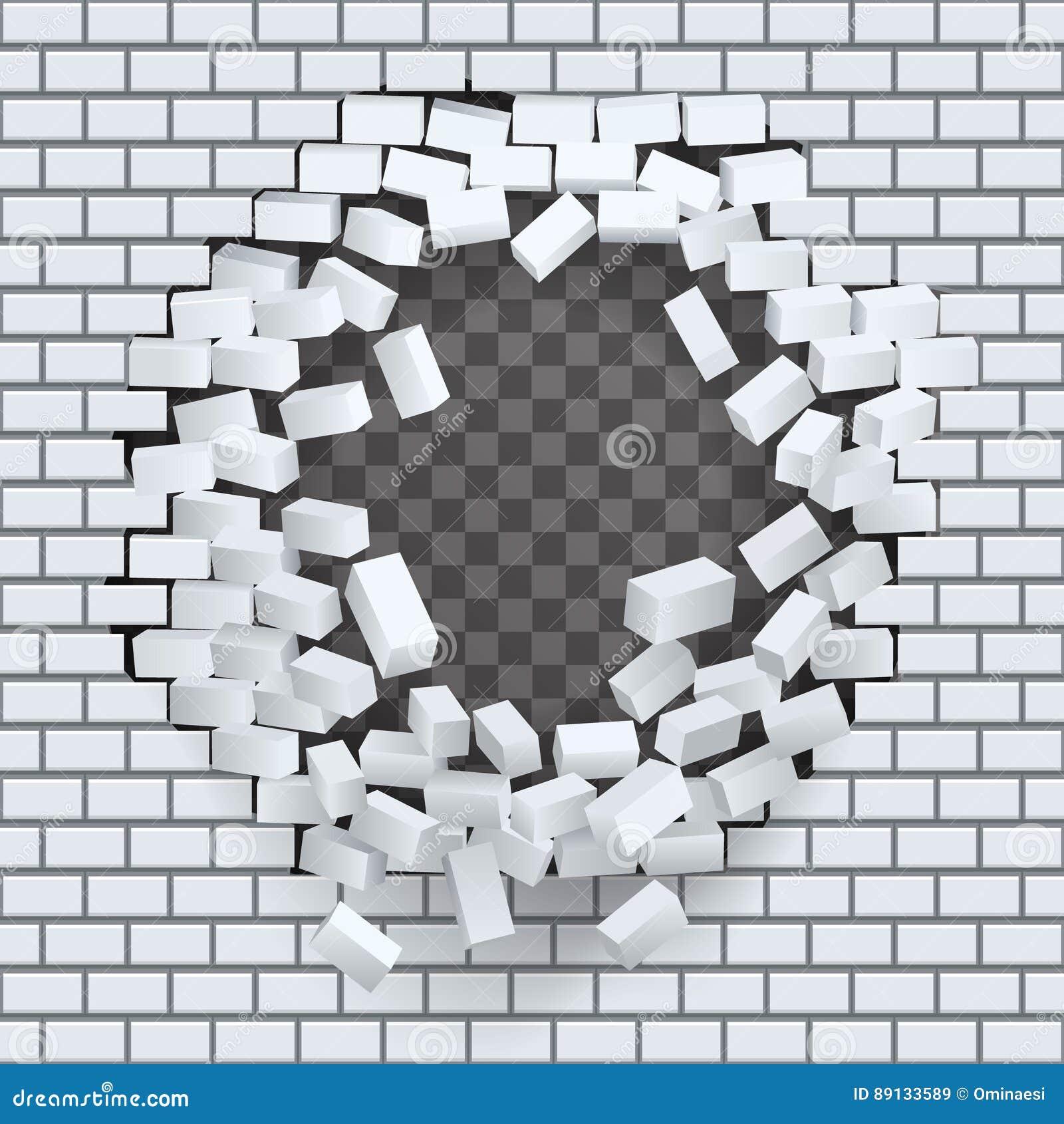 Break Hole In Brick Wall Destruction Template Transparent Background