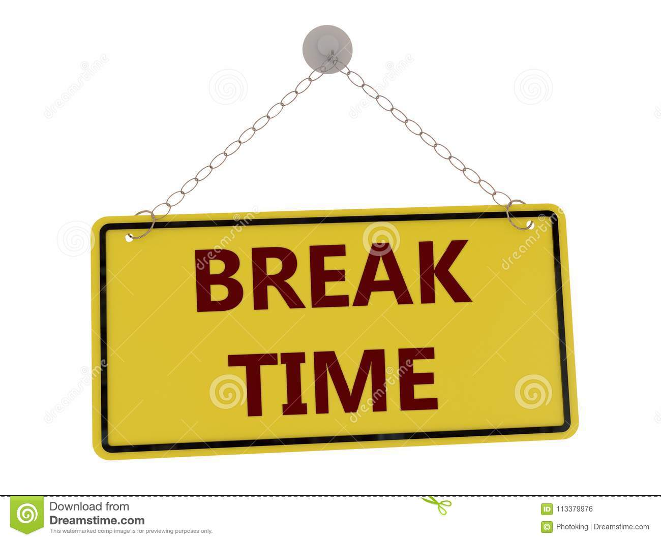Download Break Time Sign Stock Illustration Of Chain