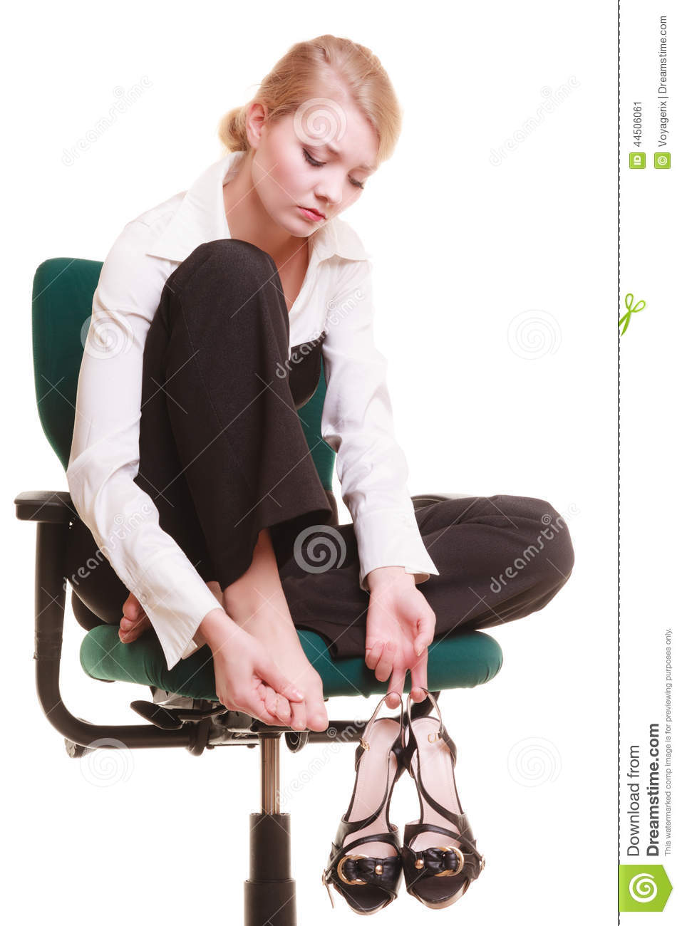 Break From Work. Tired Businesswoman With Leg Pain Stock ...