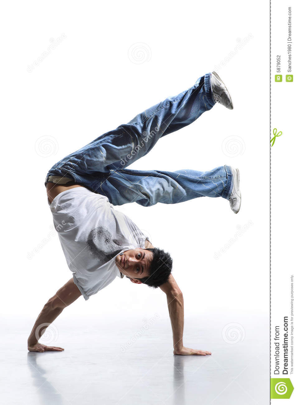 Breakdance style dancer doing freeze position.