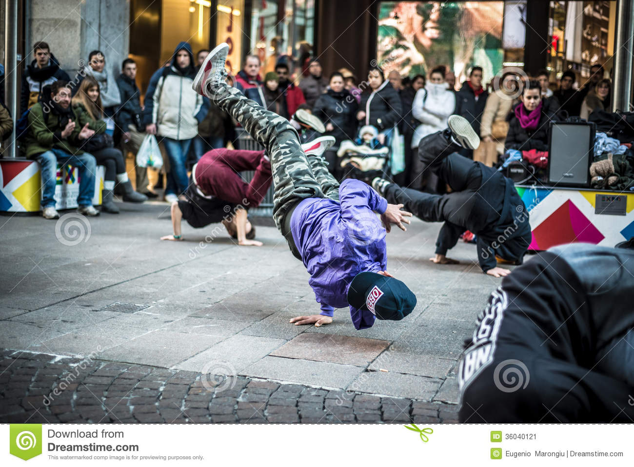 Breakdancer Guys In Milan Dancing In The Street Editorial