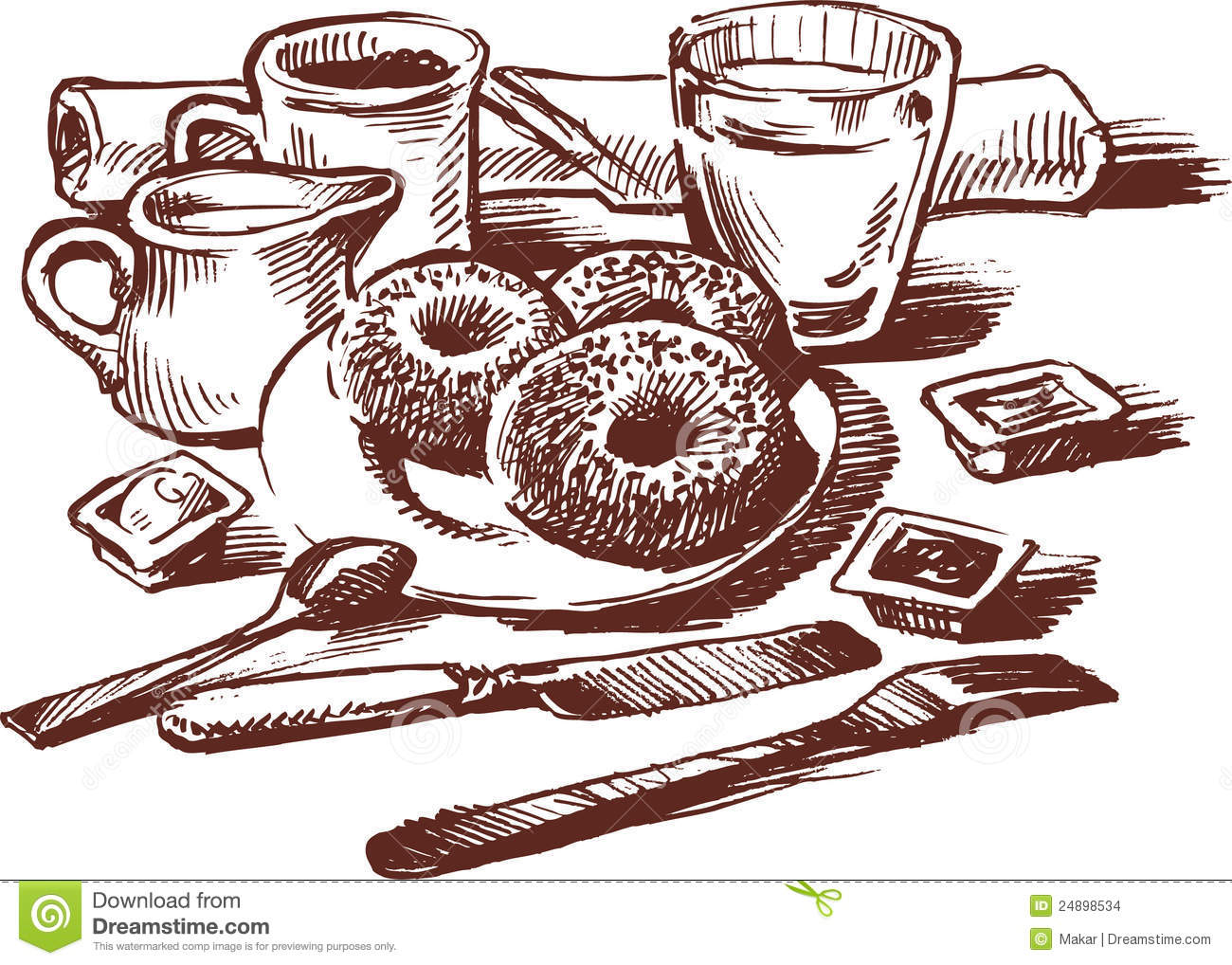 Vector Drawing Of A Still Life With Breakfast Served