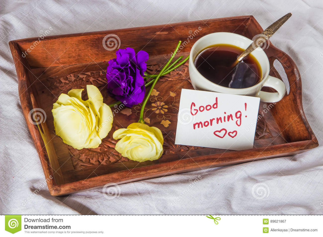 Images Of Good Morning Cake : Breakfast In Bed. Cup, Coffee, Red, Velvet, Cake And Note ...