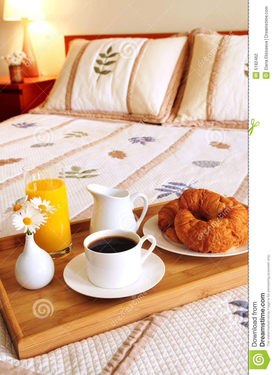 Breakfast On A Bed In A Hotel Room Stock Photography ...