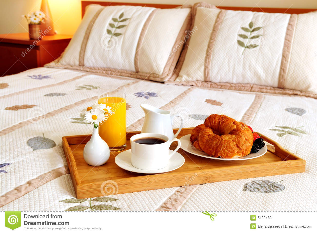 Breakfast On A Bed In A Hotel Room Stock Photo Image Of