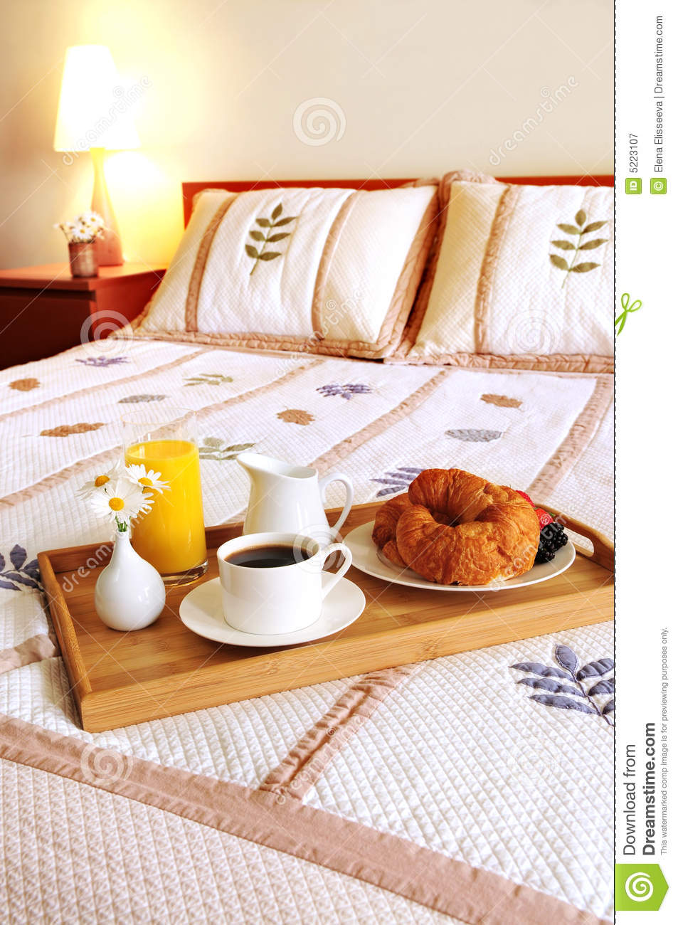 Breakfast On A Bed In A Hotel Room Royalty Free Stock ...