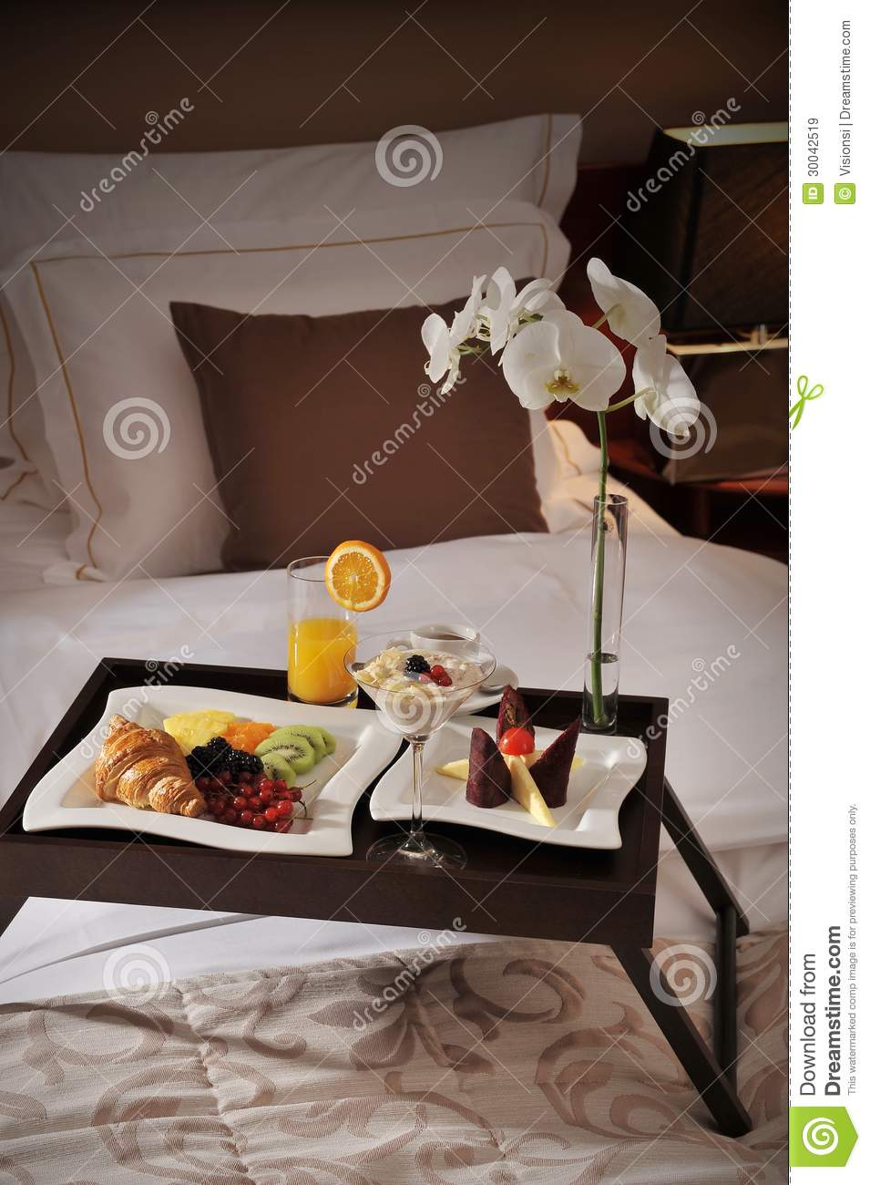 Breakfast In Bed At A Hotel Room Royalty Free Stock Images ...