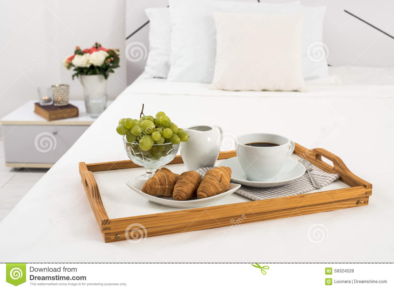 Breakfast in bed stock photo image 58324528 for A bed and breakfast