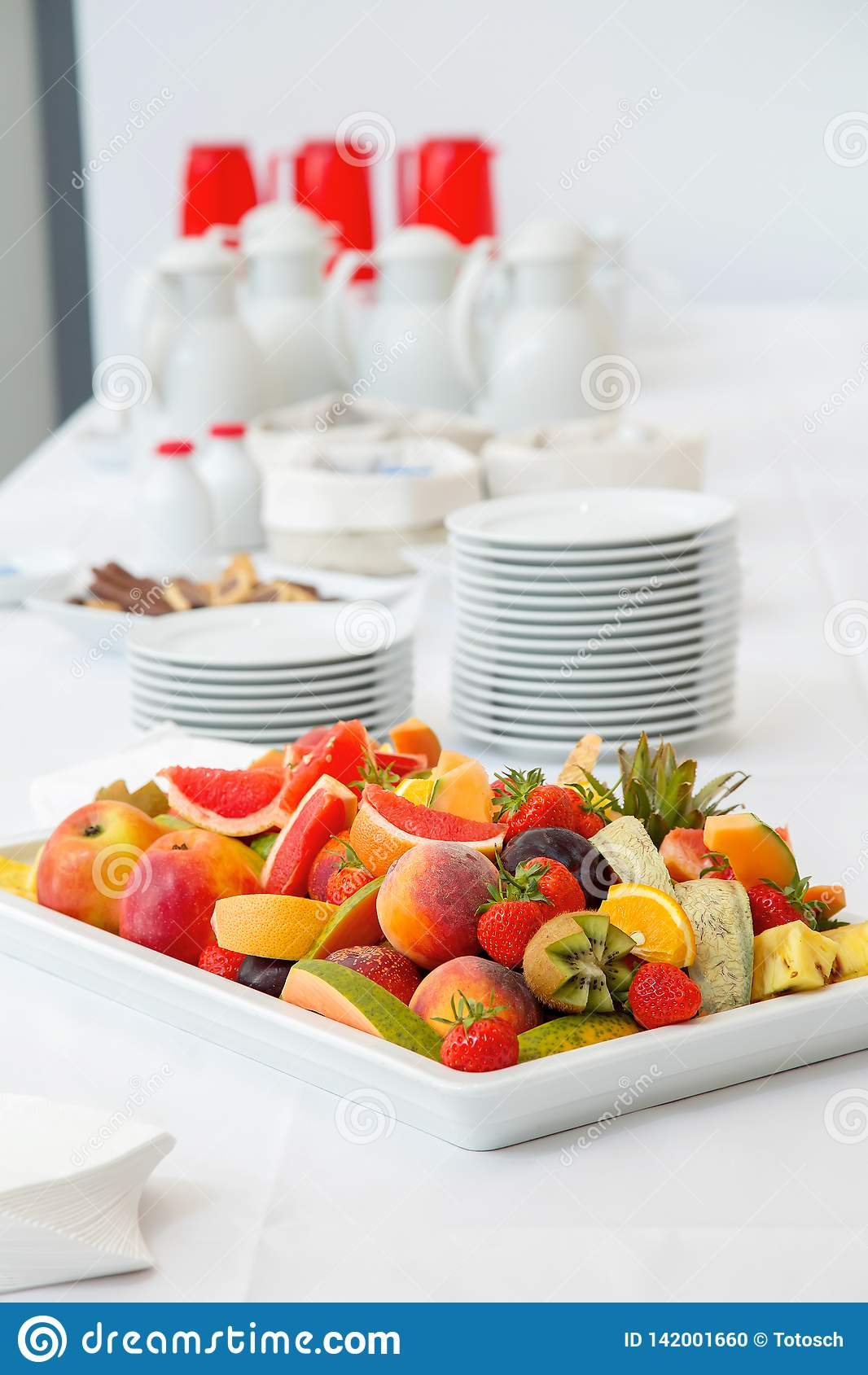 Breakfast buffet - fruits, coffee and tea