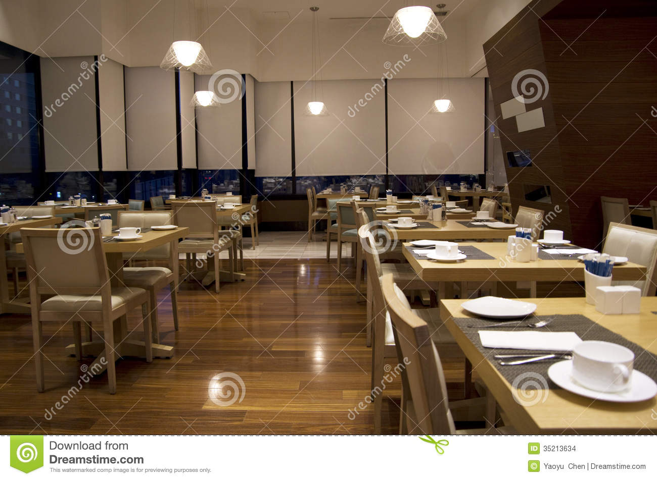 Breakfast buffet restaurant interiors stock photo image