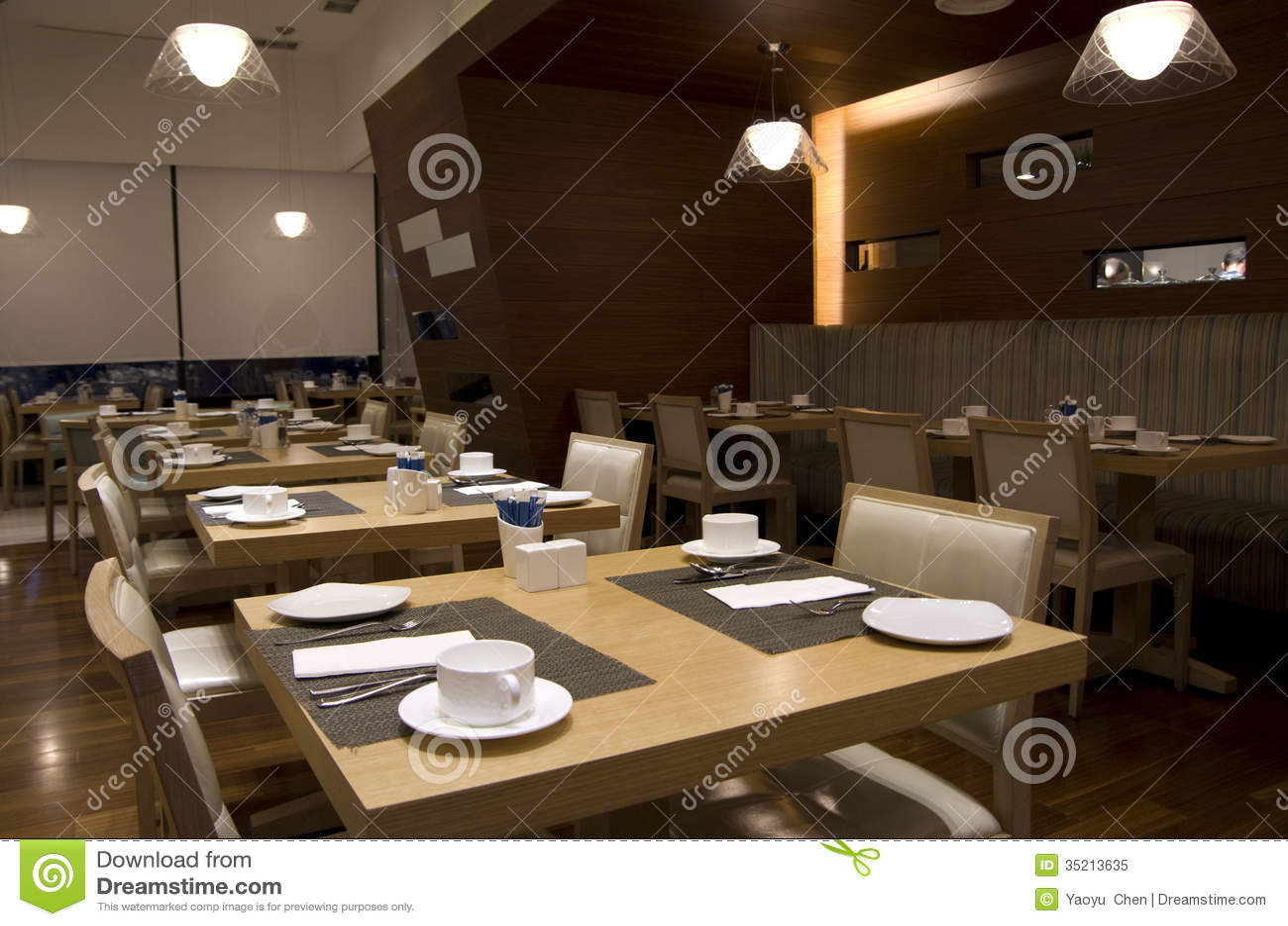 Breakfast Buffet Restaurant Interiors Royalty Free Stock