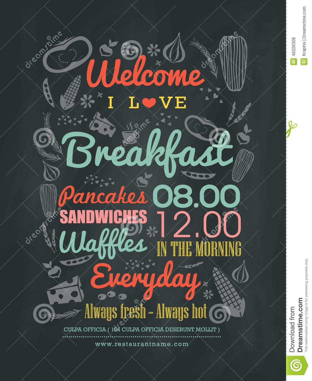 ... Menu Design Typography On Chalk Board Stock Vector - Image: 46226308