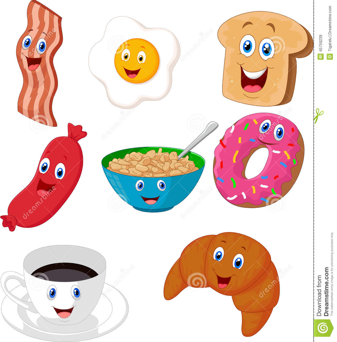 Breakfast Cartoon Collection Stock Vector - Image: 45759239
