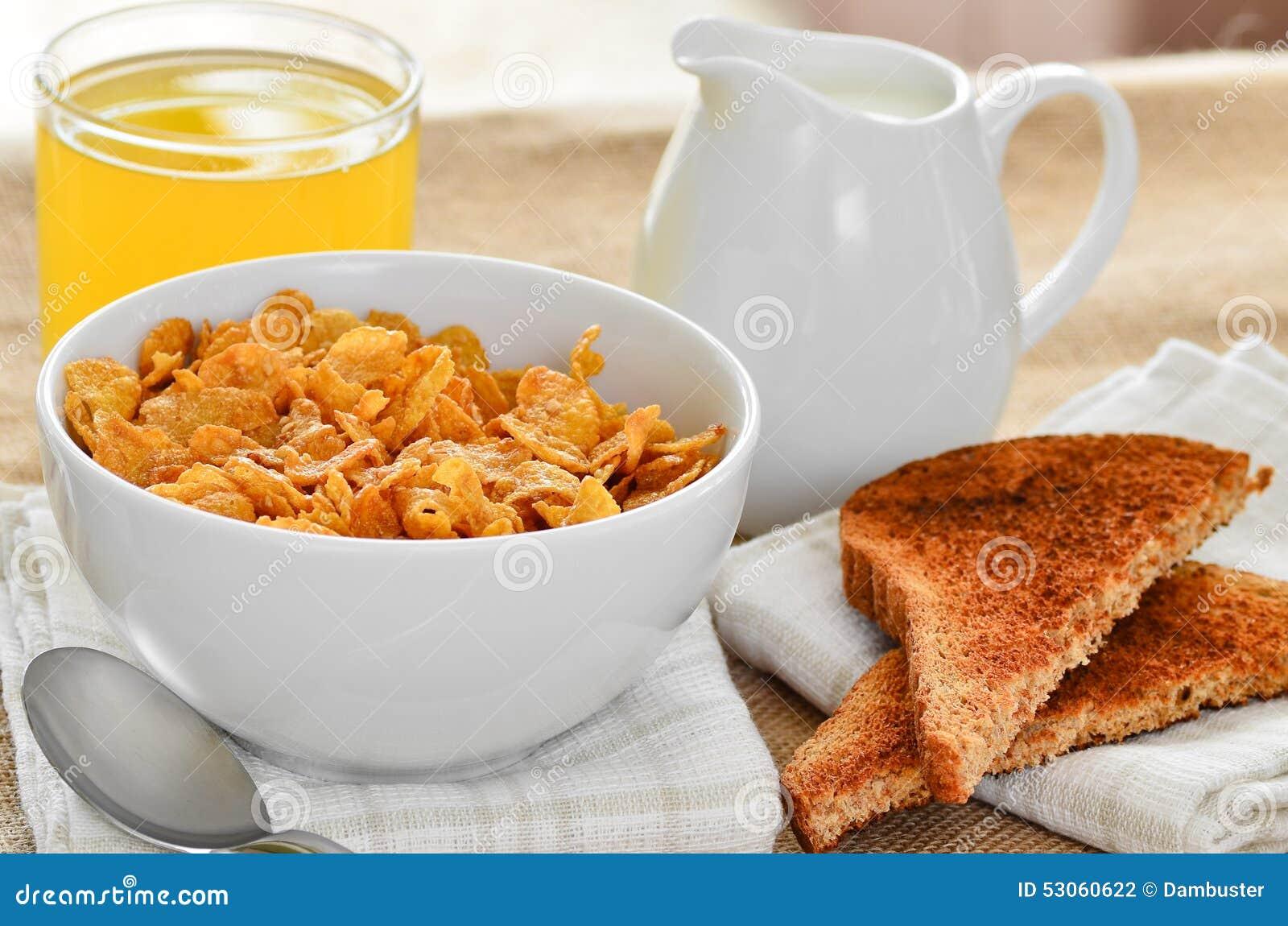breakfast-cereal-toast-juice-jug-fresh-milk-to-pour-cereals-53060622 ...