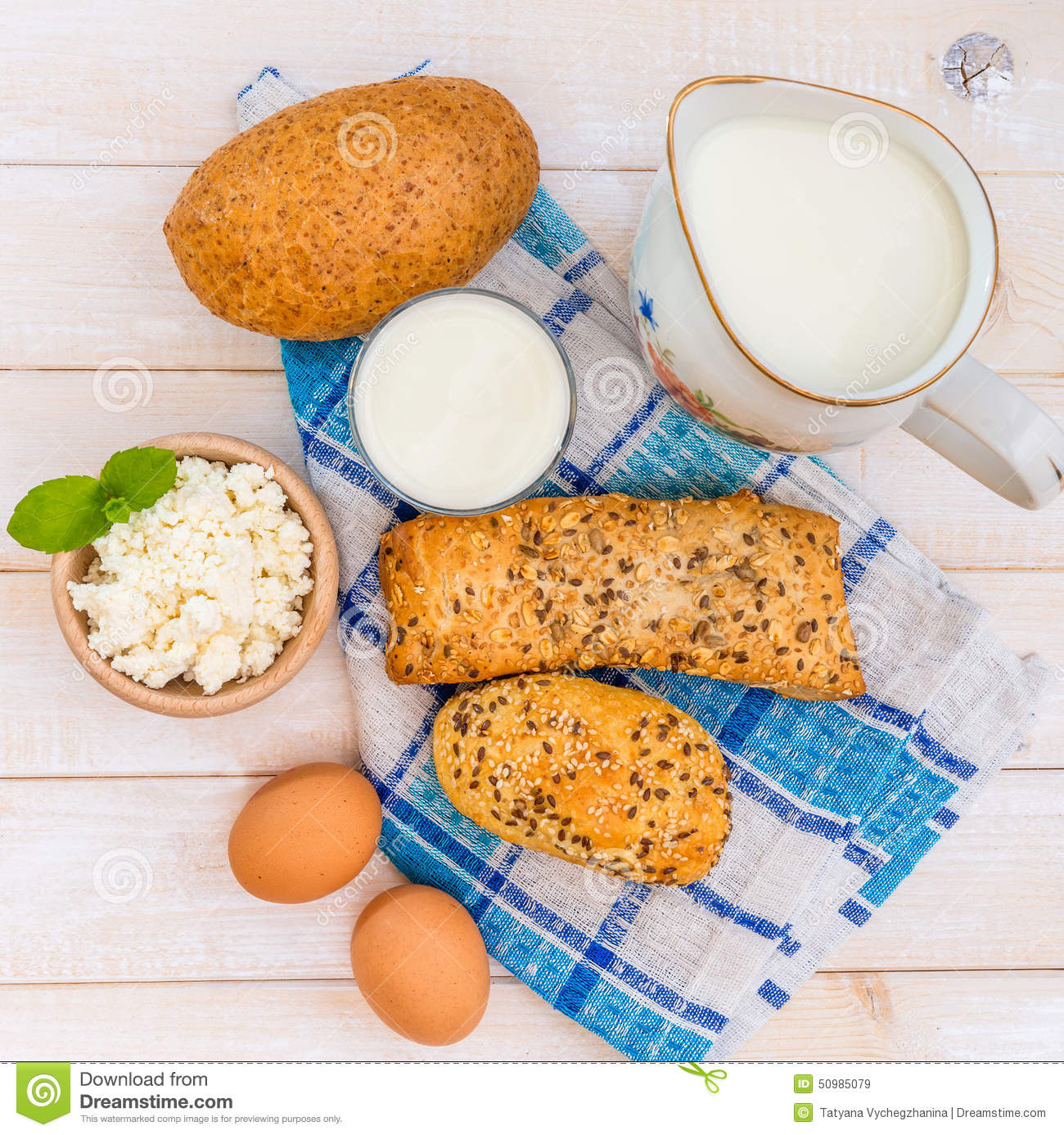 Breakfast Of Cheese Milk Bread And Eggs Stock Image