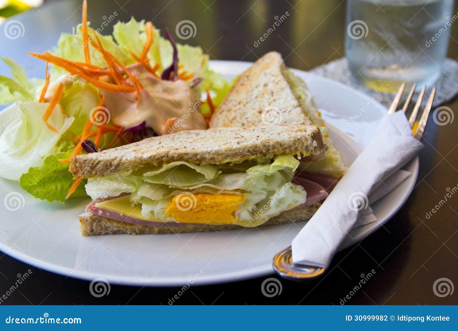 Breakfast,Club sandwich and salad