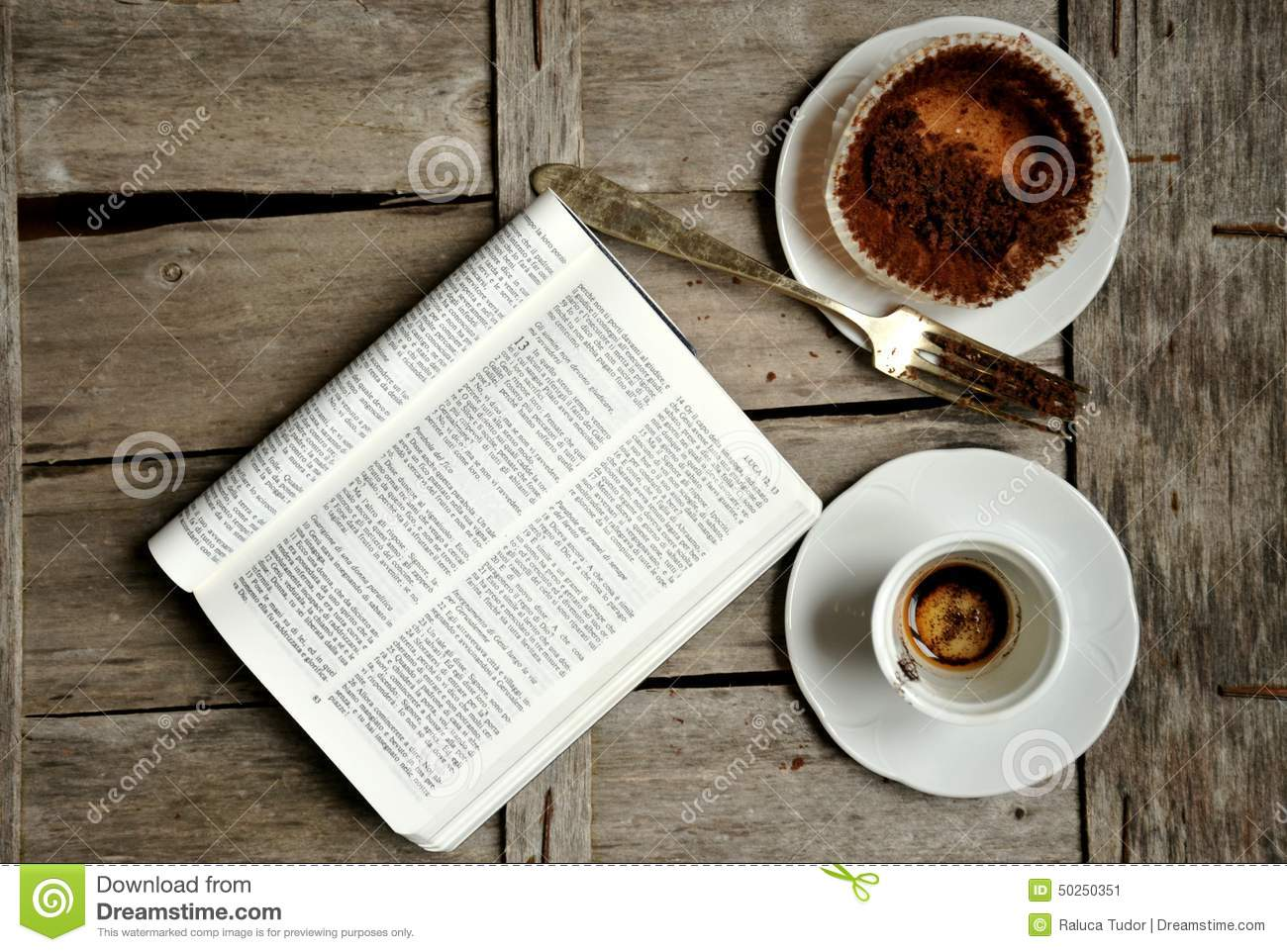 Breakfast With Coffee Chocolate And Book Stock Photo