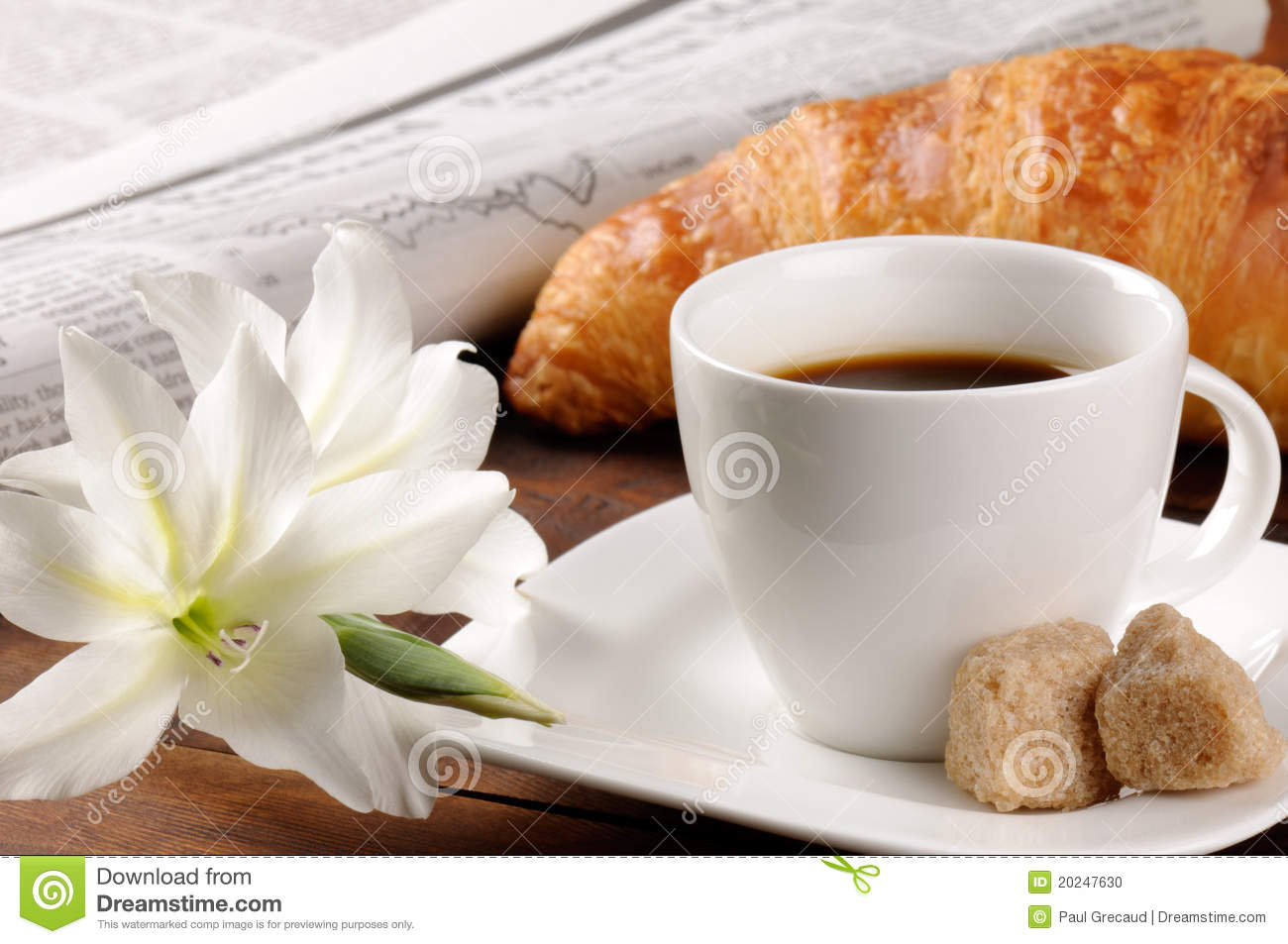 Breakfast With Coffee And Croissant Stock Photo Image
