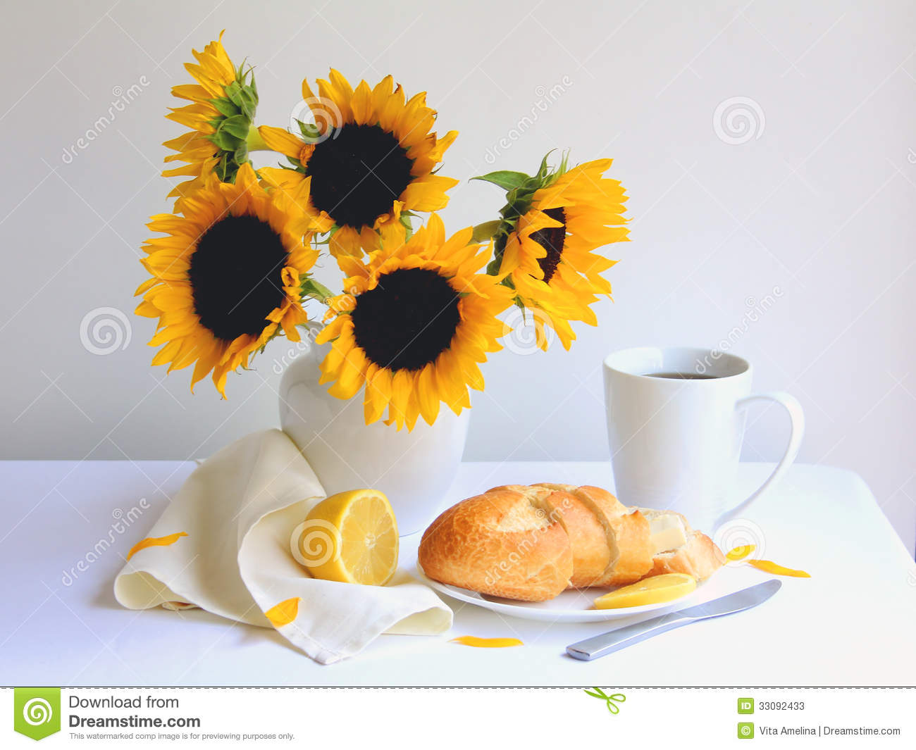 Breakfast Coffee With Fresh Bread And Lemon On White