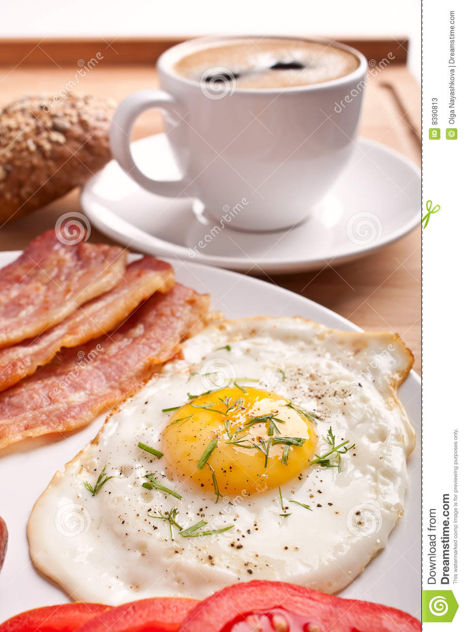 Breakfast With Coffee And Fried Egg Stock Photos - Image: 8390813