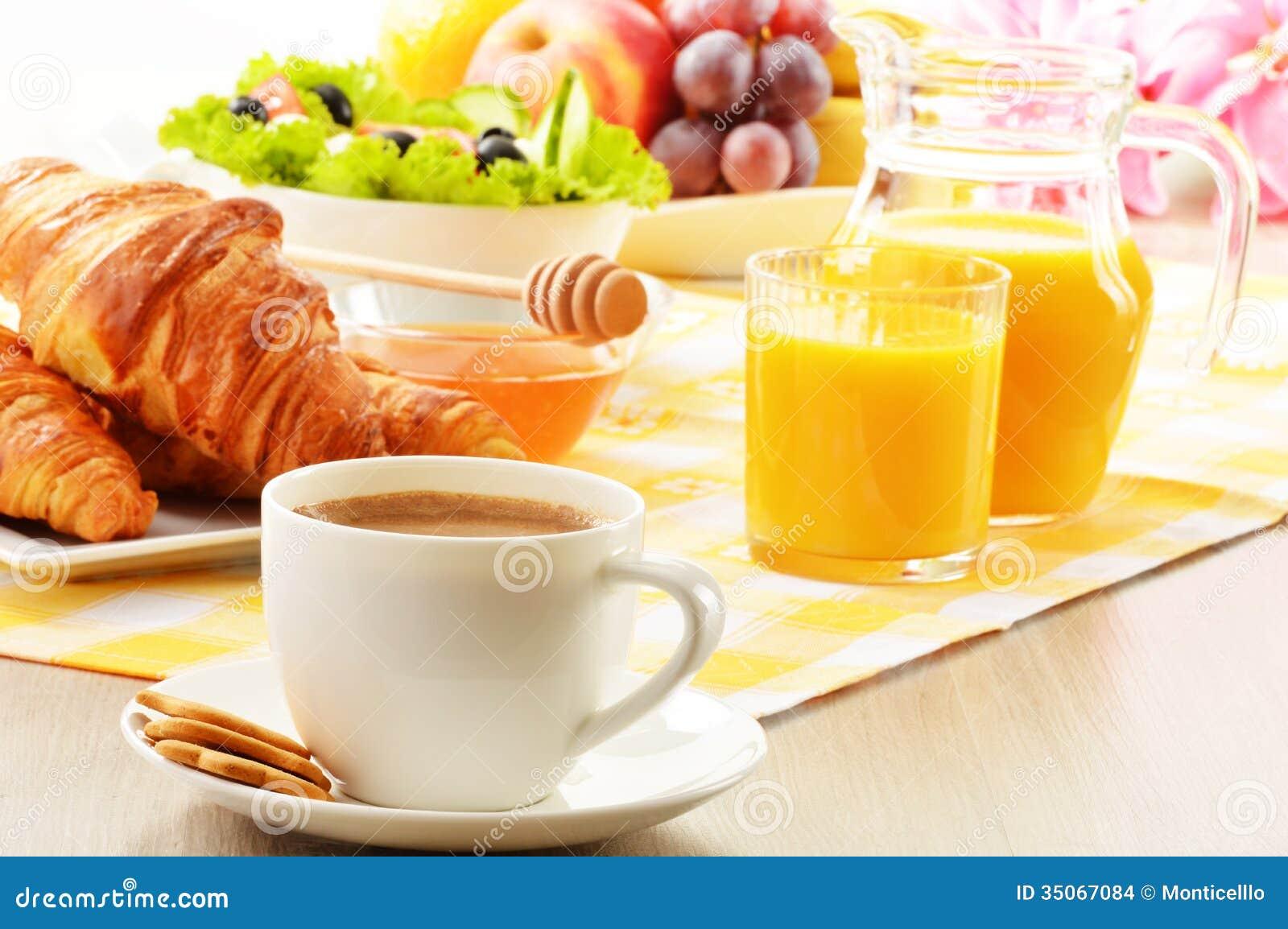 Breakfast With Coffee Orange Juice Croissant Egg