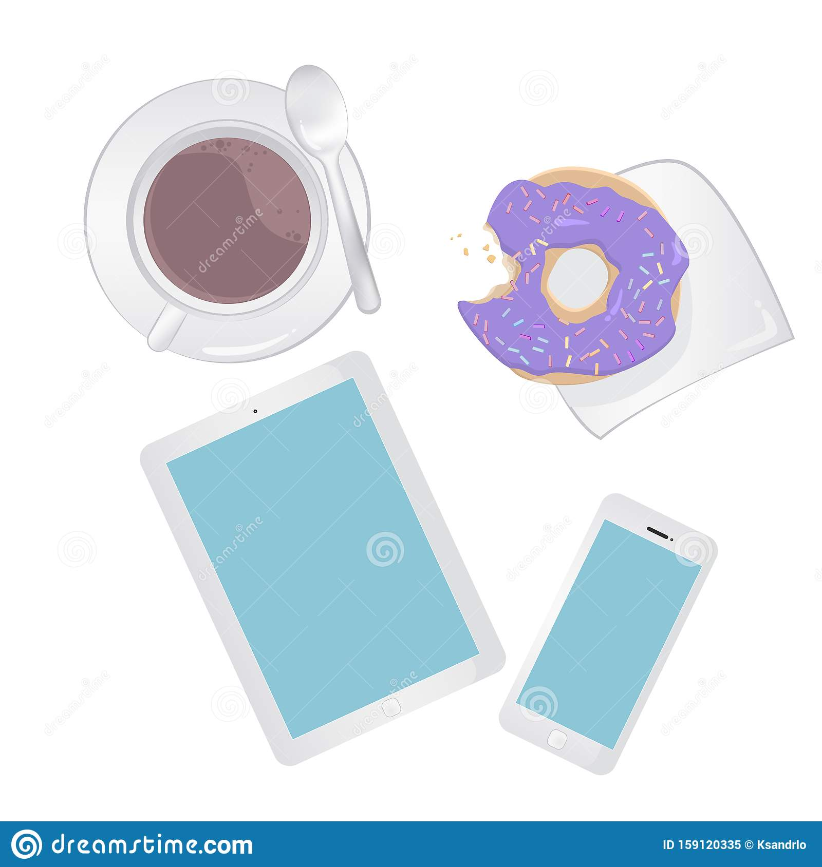 Breakfast concept top view. Set smartphone, tablet, coffee and donut