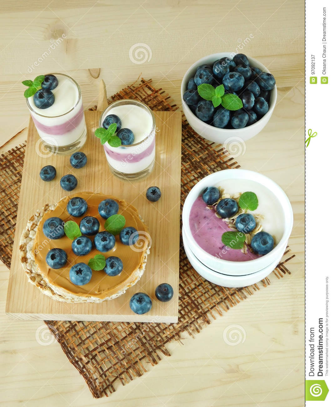 Breakfast Consisting Of Different Meals With Blueberries ...