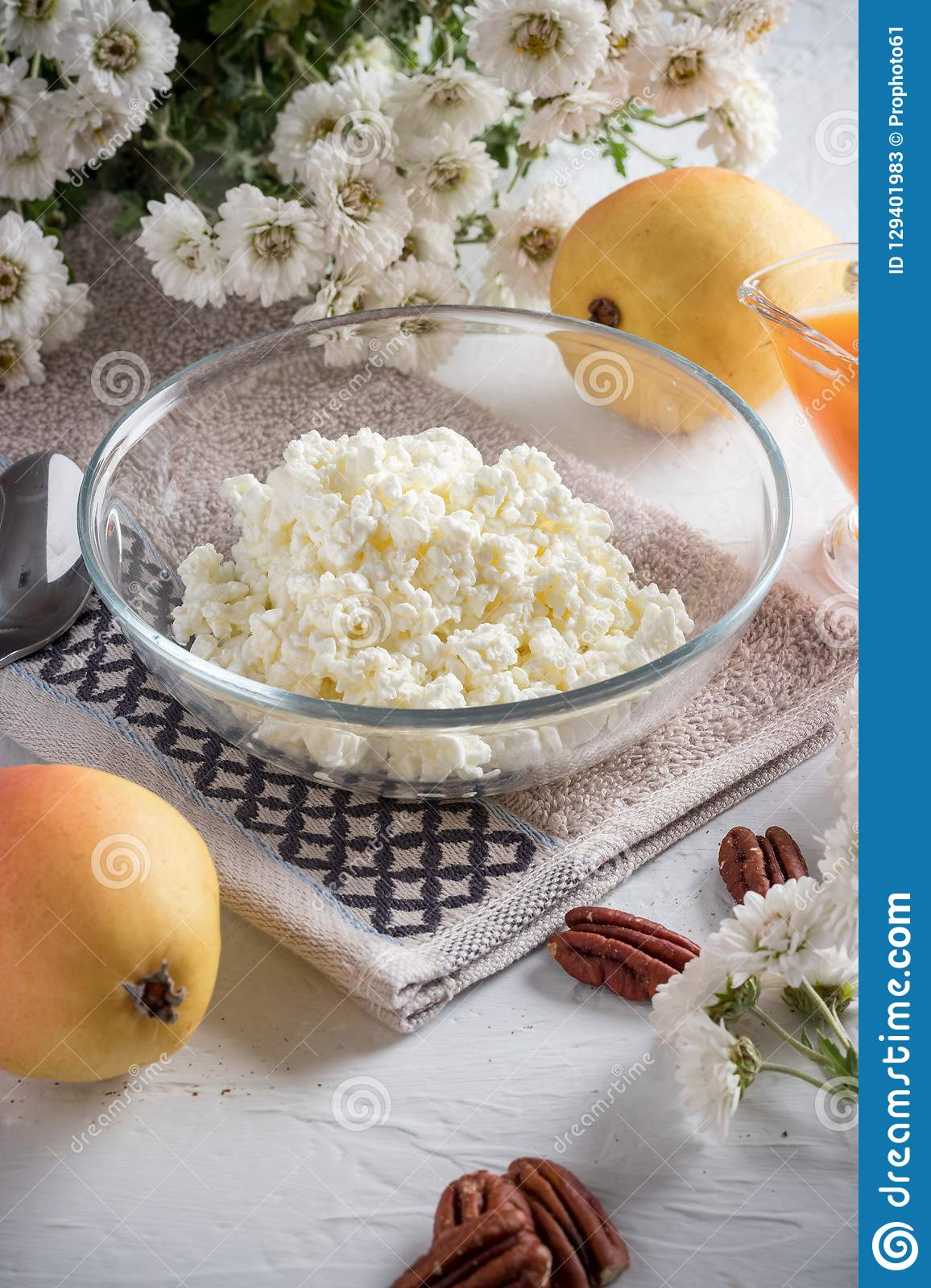 Breakfast of cottage cheese, pear and jam stock photos