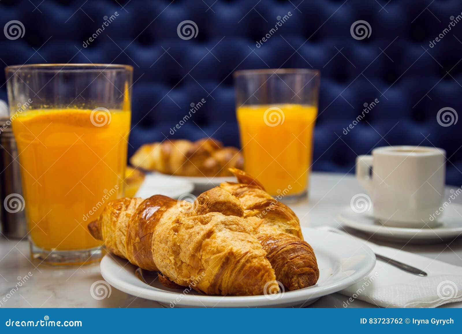 Breakfast With Croissant And Orange Juice Stock Photo