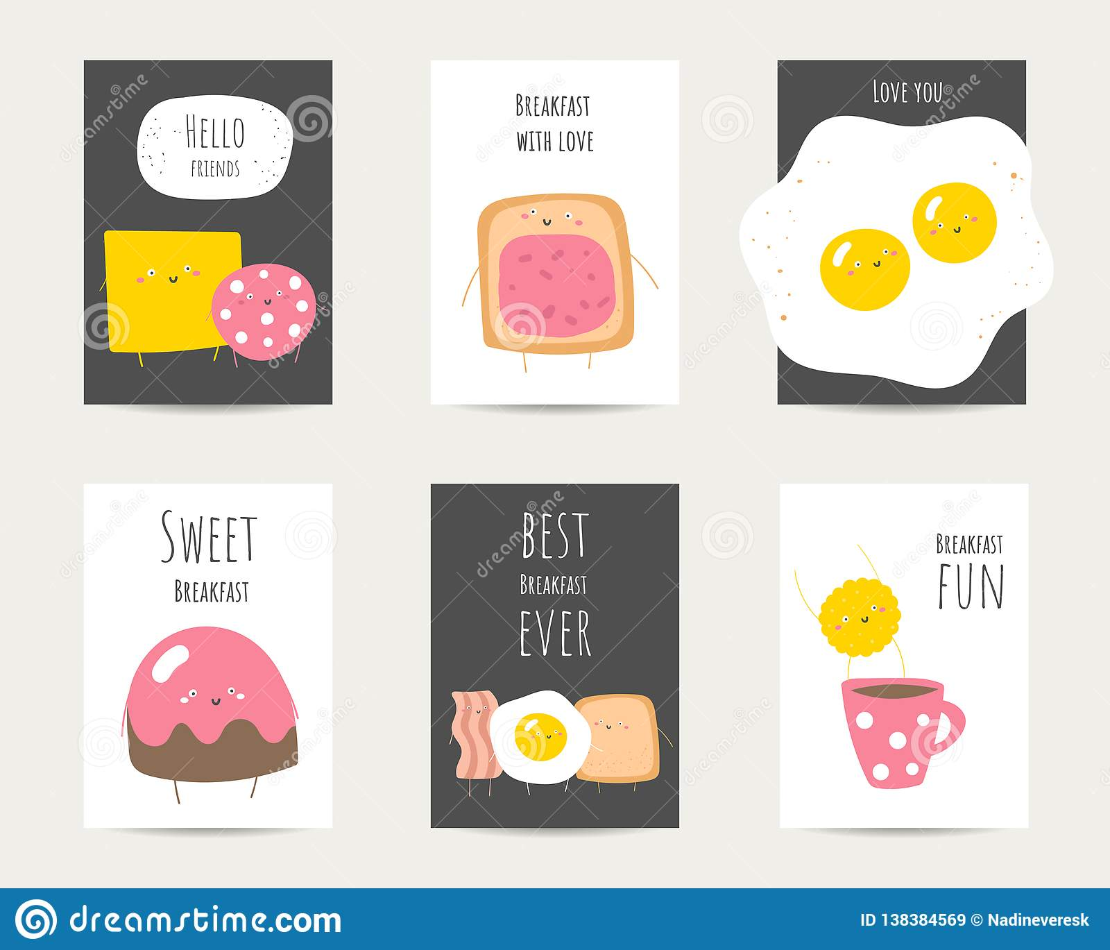 Flat Style Funny Cards Postcards Templates With Quotes For