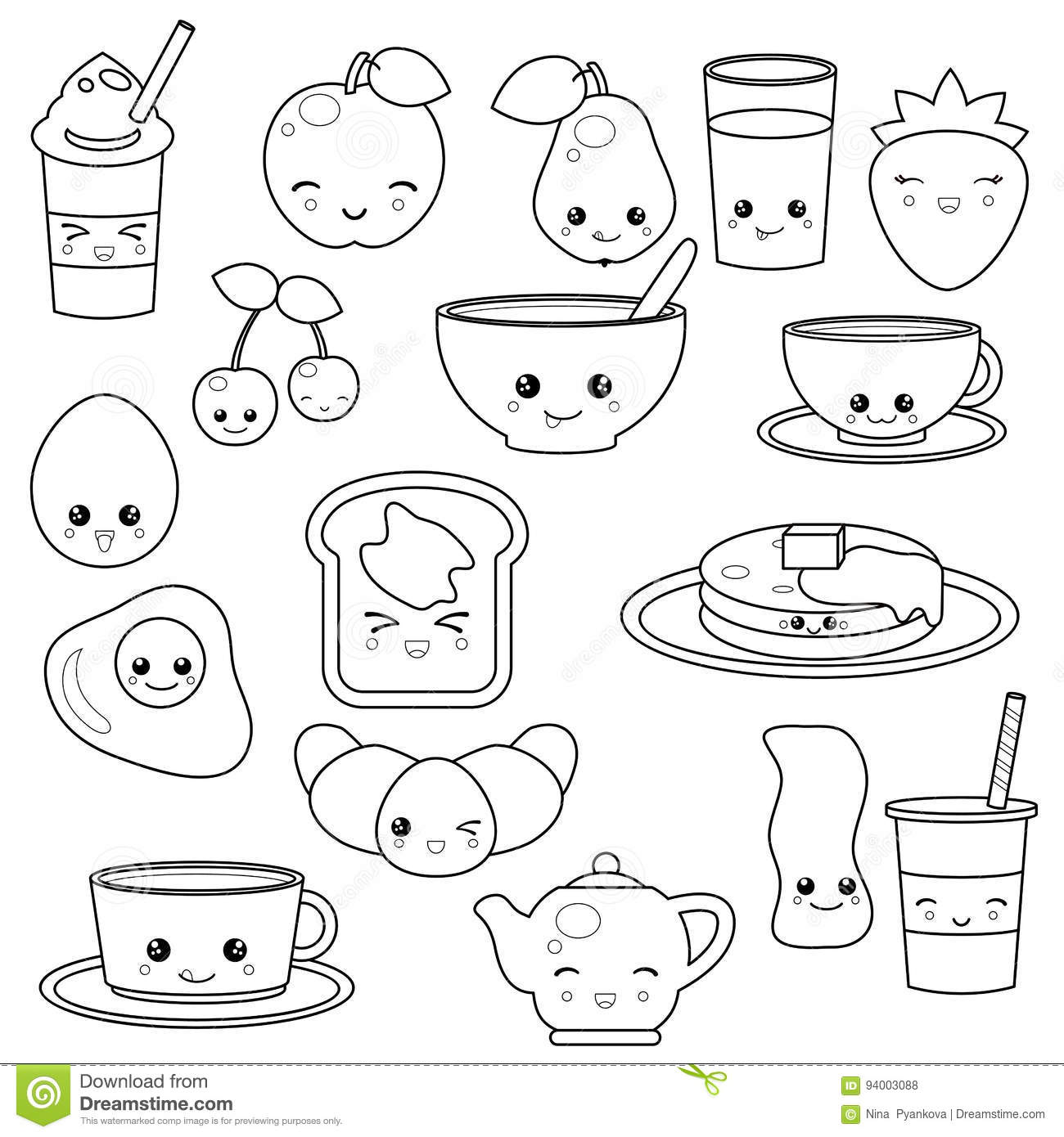 breakfast food and beverages stock vector illustration