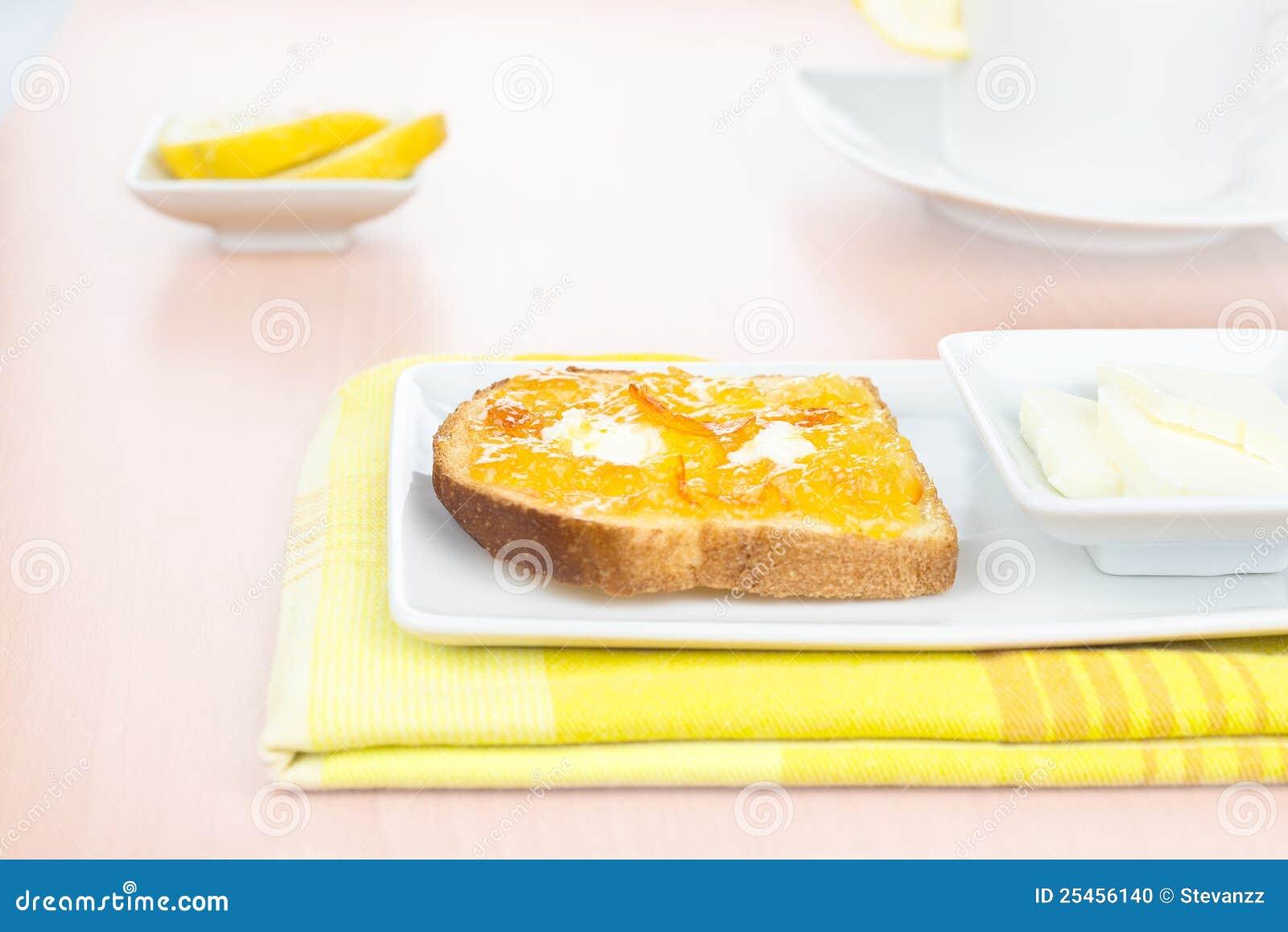 Breakfast. French Toast, Marmalade, Butter, Lemon Stock Photo - Image ...