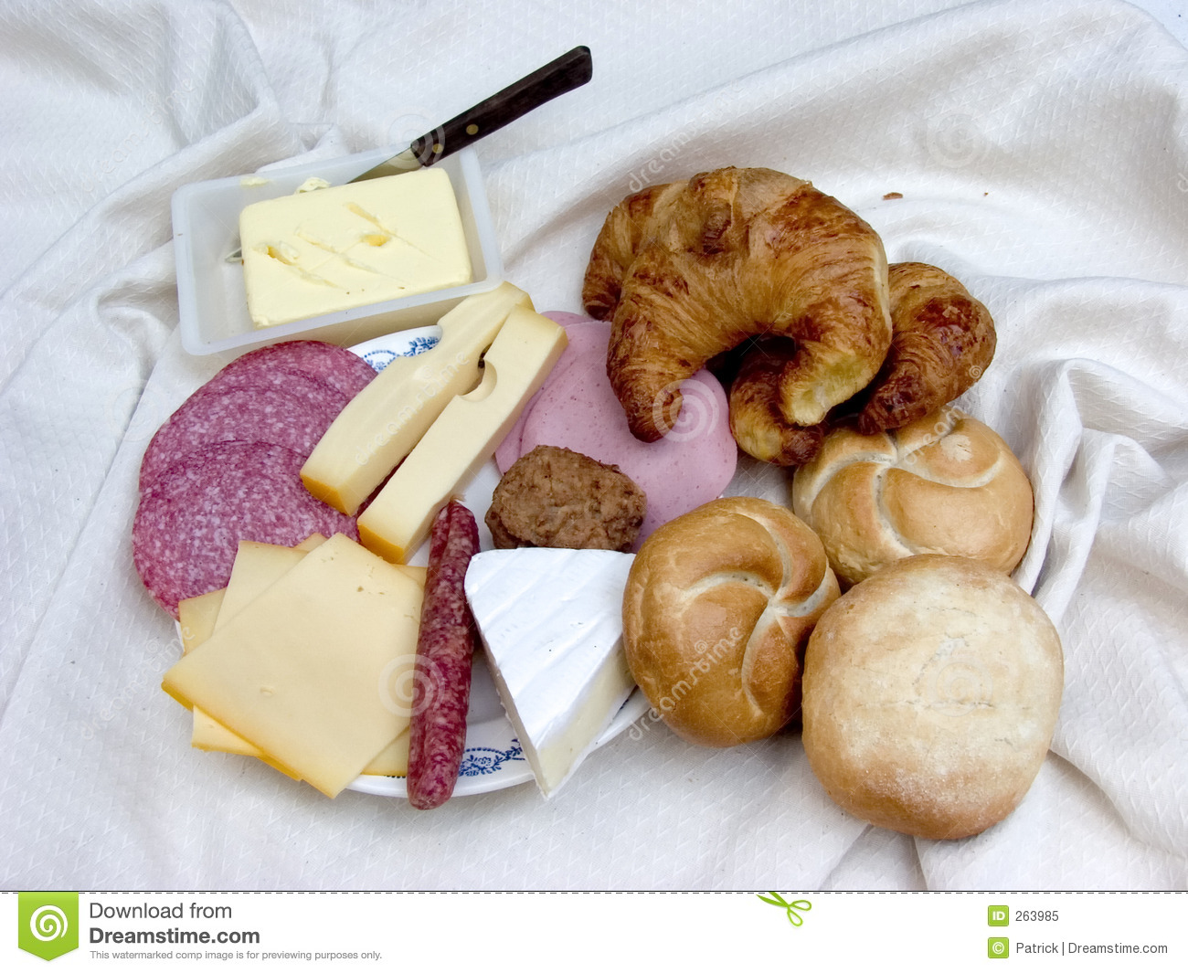 Breakfast, Fresh Bread, Cheese And Meat. Royalty Free Stock Photo ...