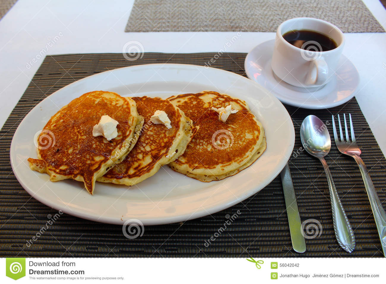 Download Breakfast Hot Cakes And Coffee Stock Photo - Image of spoon, plate: 56042042